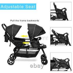 2 in 1 Foldable Baby Stroller Double Car Seat Pushchair Pram Tandem Travel Tray