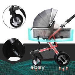 3 in 1 Baby Pram Pushchair From Birth Travel System Buggy Stroller With Car Seat