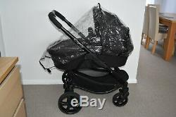 3 in1 iCandy Strawberry 2 in Black inc Maxi Cosi Peble Car Seat with Black Frame