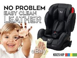BEBYLUX BLACK LEATHER CHILD BABY KIDS car seat with ISOFIX base 1 4 12 years