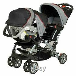 BUY NOW Double Travel System Stroller Baby Infant Twin Car Seat Carrier Buggy