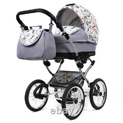 Baby Buggy 3 in 1 Pushchair Pram Classic Retro Travel System Car Seat Carrycot