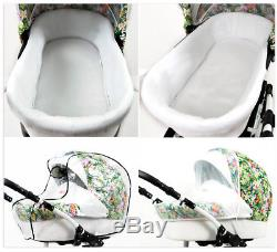 Baby Pram Buggy Pushchair 3 in 1 Car Seat Carrycot Combi Travel System Newborn