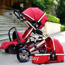 Baby Pram Buggy Stroller 3 in1 Pushchair Car Seat Carrycot Travel System New
