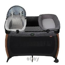 Baby Stroller Travel System with Car Seat Infant Playard Crib Combo Set-Black