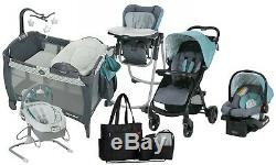 Baby Stroller with Car Seat Travel System Playard High Chair Bouncer Diaper Bag