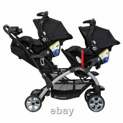 Baby Trend Sit N Stand Double Stroller with 2 Baby Trend Ally 35 Infant Car Seats