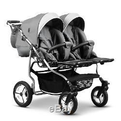 Baby Twin Pram 3 in 1 Pushchair Double Toddler Buggy Twins Car seats Newborns