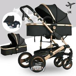 Black Carriage Car Seat Baby Stroller 3 in 1 Buggy Luxury Carrycot Travel System