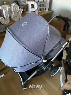 Bugaboo Fox Blue Melange With Instructions And Car Seat Adaptors