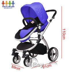 Girls Boys Black Silver Pushchair 3 in 1 Baby Travel System Car seat Carry cot