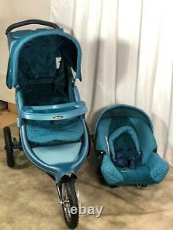 Graco 3 wheeler travel system with car seat, footmuff and raincover