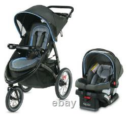 Graco FastAction Jogger LX Travel System Stroller with SnugRide 30 Car Seat Cielo