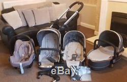 I Candy Peach 2016 3 Blossom Double Pram 2 Seats Carrycot Car Seat Extras