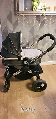 ICandy Peach 3 double pram in truffle, 2 seats & carrycot, Car seat & isofix
