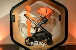 ICandy orange pram with Maxi-cosi pebble car seat