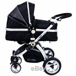 ISafe 3 in 1 Pram Travel System Black + Carseat + Raincovers + fm
