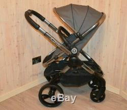 Icandy Peach 4 Moonlight Grey Stroller+flight Bag+carseat+changing Bag+carrycot