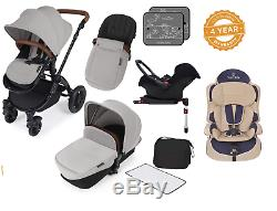 Ickle Bubba Stomp V3 Isofix Travel System silver on black & 2nd Stage Car Seat