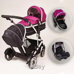 Kids Kargo Duel Ds Bundle Tandem Pushchair, Double buggy, Comes with a car seat