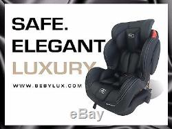 Luxury Leather Stages Caviar Black Group 1/2/3 Car Seat From Birth Baby Carseat