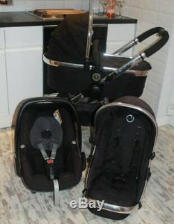 Lovely Icandy Peach 2 Black Magic Travel System 3 In 1 Maxi Cosi Pebble Car Seat