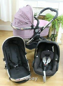 Lovely Icandy Peach 2 Pink / Black 3 In 1 Pram Travel System Maxi Cosi Car Seat