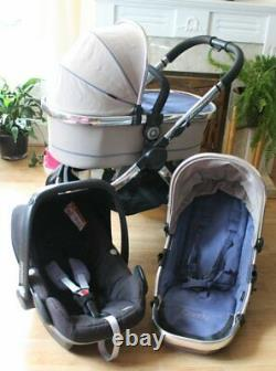 Lovely Icandy Peach 3 Azure Silver Pram Travel System Maxi Cosi Pebble Car Seat