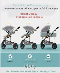 Luxury 3 in 1 Baby Stroller High View Pram Foldable Carriage Pushchair &Car Seat