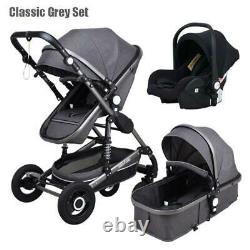 Luxury Baby Stroller 3 In 1+ Car Seat Baby Bassinet Folding Baby Carriage Prams