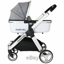 Marvel Combi 3in1 Travel System Pram Pushchair With Carrycot & Carseat Grey