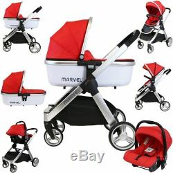 Marvel Combi 3in1 Travel System Pram Pushchair With Carrycot & Carseat Red