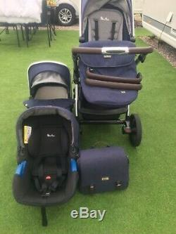 Midnight Blue Silvercross Wave Sable Single /double With Pram Top And Car Seat