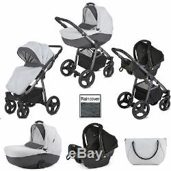 Mini Uno Grey Melange Stride Travel System Pushchair With Joie Gemm Car Seat