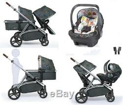 New Cosatto Wow XL tandem pushchair Nordik with buggy board Car seat & Raincover
