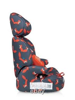 New Cosatto Zoomi group 123 anti escape car seat Charcoal Mister Fox from 9-36kg