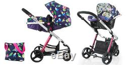 New Cosatto woop 2 in 1 travel system in Eden with Car seat footmuff bag & pvc