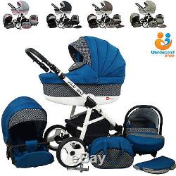 Pram Stroller Pushchair 3in1 Car Seat Carrycot Travel System Buggy 10 COLOURS