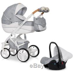 RIKO BRANO LUXE PRAM 3in1 CARRYCOT + PUSH CHAIR + CAR SEAT + EXTRAS