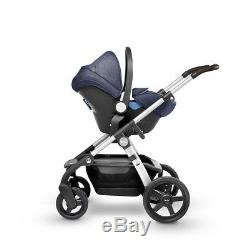 Silver Cross Wave Duo Pram Chassis With Car Seat In Midnight & Simplifix Isofix