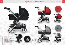 Travel System DAISY BLACK, 3 in 1 incl. Car Seat + FREE isoFIX Base & Mamas Bag