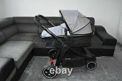 Travel System Mothercare Journey in Grey 3 Wheel inc Car Seat black frame
