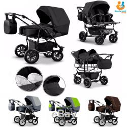 Twin Pram 3in1 Pushchair Double Buggy Twins Car Seats 21colours