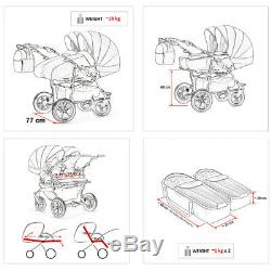 Twin Pram 3in1 Pushchair Double Buggy Twins +Car seats Tandem Many Colours