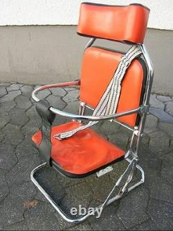 Vintage Red Chrome Child Car Seat Classic Oldtimer Foldable Accessory